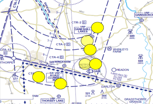 Doncaster Sheffield controlled airspace to the south of the airport