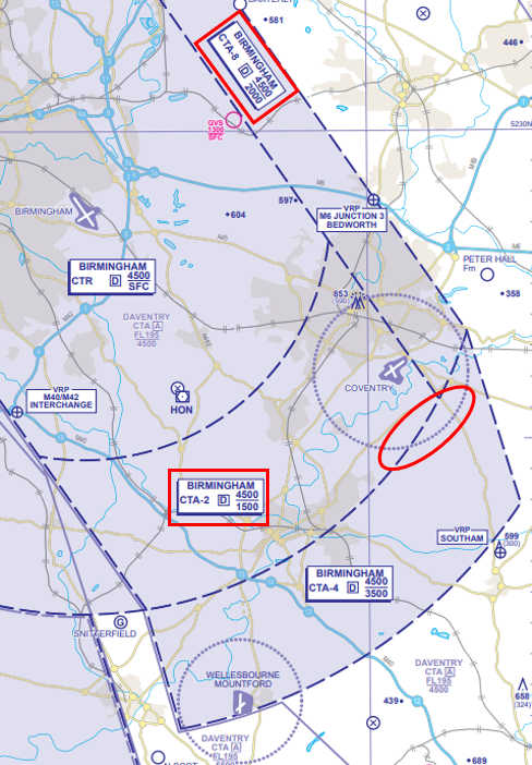 Figure 1: Aircraft is seen to track east to west at the boundary with CTA-4.