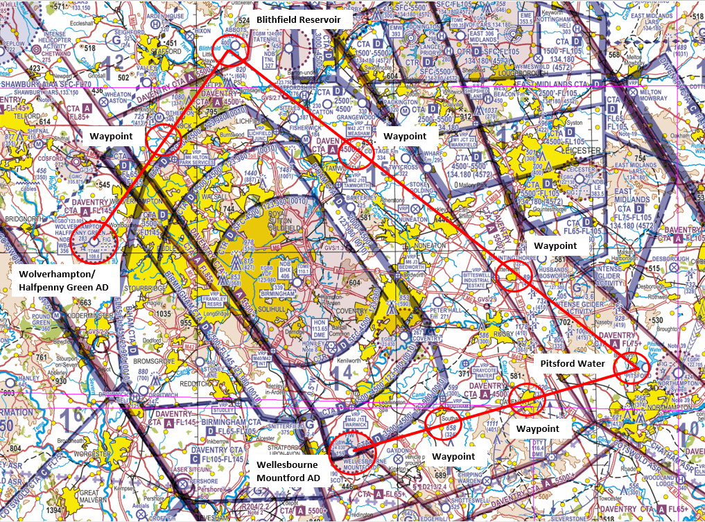 Figure 2: Route planned on a VFR 1:500,000 chart.