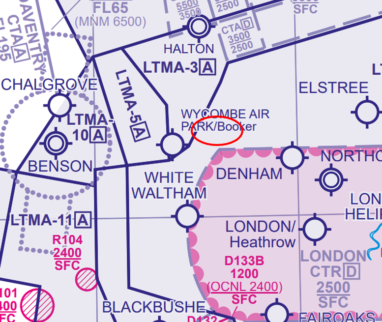 Chart showing where the AIW alert activated, east of Wycombe Air Park/Booker aerodrome